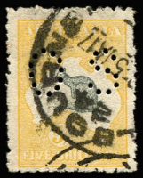 Lot 79:5/- Grey & Yellow Perf 'OS' BW #44b, rough perfs, bold cancel, Cat $200.