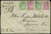 Lot 1613:1910 (Apr 20) cover to USA with India KEVII 2a x2 & ½a x2, tied by partial Yenangyat datestamp on reverse, smudged Warren (PA) arrival datestamp.