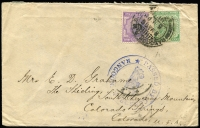 Lot 1614:1915 (May 6) Scott & Co (Rangoon) cover to USA with India KEVII 2a & KGV ½a tied by Rangoon RMS datestamp, large circular 'PASSED BY CENSOR/(Arms)/RANGOON' handstamp in blue, Rangoon RMS/Set1 transit backstamp.