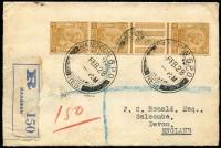 Lot 1617:1928 (Feb 10) registered cover to UK with India 6a KGV interpanneau strip of 3 tied Rangoon datestamp, blue on white registration label, Rangoon & Salcombe (GB) backstamps, portion of the back of cover removed.