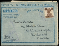 "Lot 1618:1945 (Feb 9) use of 'IAFF - 1083' 'SECURITY: THINK - BEFORE YOU WRITE' aerogramme to Cardiff (UK) from F/Lt Fisher '906' Wing in Central Burma franked with India 4as tied by 'RAF POST/61/INDIA' datestamp in violet, RAF Censor handstamp. [Interesting comment ""The Russians seem to have showed up again during this past few days but we can't expect them to keep up there rush forward all the time""]"