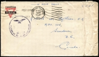 Lot 1658:Belgium 1944 (Oct 7) Canadian YMCA stampless cover to Scoudouc in Canada from RCAF Airman Overseas, cancelled '8 BASE/POST OFFICE' machine cancel, 'PASSED BY RAF BASE CENSOR/No 12' handstamp in blue (both located Antwerp), Canadian Overseas/SC 2 transit d/s, on reverse partial Scoudouc/MPO arrival datestamp.