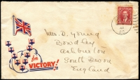 Lot 1657:1942 (Nov 9) 'V' for 'VICTORY' illustrated cover showing aeroplanes over clouds with Union Jack label affixed above, addressed to UK with Burnley (BC) datestamp tying stamp, some foxing.