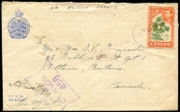 Lot 1740:C.1944 (Apr 29) British Empire Service League/Canadian Legion cover to Ottawa from a Canadian Airman with 5c Coconut Palms tied by RAF Post/Colombo datestamp, 'RAF Censor/458' handstamp in violet, minor blemishes.