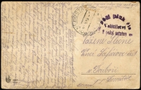 Lot 966:1919 (Jul 28) Border Dispute stampless soldier's free mail PPC to Moravia cancelled with 'POLNI POSTA/CSP 85' datestamp alongside 'Velitilstvi/8 Polni Setniny' unframed half-circle handstamp in violet, adhesion faults on view side.