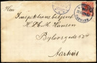 Lot 1385:1917 (Nov 23) cover to Aarhus with 10ö optd 'SF' tied by 'KRIGSFANGELEJR/No2/DANMARK' datestamp endorsed on reverse by Nursing Orderly Hansen of Hald Edge Nr Viborg POW Camp, partial Aarhus arrival datestamp on face.
