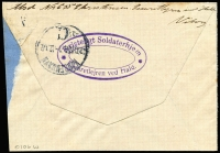 Lot 1224 [2 of 2]:1918 (Nov 30) small cover to Copenhagen 5V optd 'SF' pair tied by 'KRIGSFANGELEJR/No2/DANMARK' datestamp & endorsed on reverse by a member of POW camp staff with large oval 'Kristeligt Soldaterhjem/Lazaretlejren Ved Held' cachet in violet overstruck with Copenhagen arrival datestamp, cover a tad reduced at right.