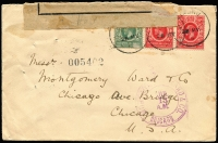 Lot 1420:1915 (May 28) cover to Chicago with KGV 6c x2 & 3c tied by Limuru datestamp, black on buff 'OPENED BY CENSOR/UNDER/MARTIAL LAW.' label (small defects) tied to reverse by partial Mombasa datestamp, Montgomery Ward arrival datestamp on face, minor blemishes.
