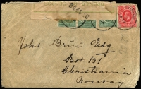 Lot 1775:1915 (Sep 22) cover to Christiania, Norway with KGV 3c x3 plus 6c tied Limuru datestamp, green on white 'OPENED BY CENSOR/UNDER/MARTIAL LAW' label (mild staining) handstamped with '344916' file number in black and tied on reverse by Mombasa (Sep 25) transit datestamp, Kristiania arrival backstamps, some edge faults. Hightly unusual destination for period.