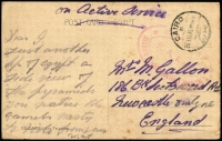 Lot 1723:1916 (Mar 30) WWI stampless PPC (Pyramids during the inundation) to UK cancelled with Cairo datestamp, oval COMMANDMENT/R.A.M.C./NASREIH SCHOOLS MILITARY HOSPITAL' handstamp in red (Not listed by Firebrace, apparently only used 30 Sept 1915- 31 Mar 1916).