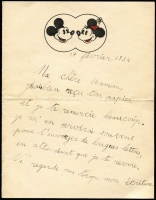 Lot 1747 [2 of 3]:1934 (Feb 17) cover to London with 50c Commerce x3 tied by Paris slogan cancel, with original contents comprising mourning letter, plus a second message on pictorial headed notepaper showing images of Mickey & Minnie Mouse. Early Disney social history item. (3)