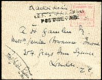 Lot 1350:1916 East Africa Campaign stampless cover to London cancelled on reverse large part Indian Type 'FPO 321' (Kahe) datestamp, with on face unframed two-line 'IEF B' FPO No 321/POSTAGE FREE' handstamp in black and fine boxed 'PASSED BY CENSOR/3329' handstamp in red, flap fault, otherwise fine.