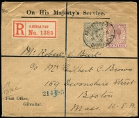 Lot 1357:1926 (Feb 16) Gibraltar Post Office OHMS registered small to USA cover with KGV 2d & 6d SG #93 & 97 tied by 'REGISTERED/GIBRALTAR' oval datestamp, appropriate transit backstamps including Boston arrival.