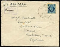 Lot 1201:Cyprus 1944 (Feb 8) cover to UK with 10d KGVI tied by Indian Type FPO R 7 datestamp (used at Limassol) framed Type R11 'RAF/CENSOR/368' handstamp in violet, missing backflap. [Colley & Garrard record RAF Censor 368 as being used by No 237 AMES in Cyprus during January 1944, this cover extends that date into February]
