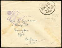 Lot 2006:Lebanon 1945 (Sep 3) stampless cover to UK cancelled Indian Type 'FPO 88/3SEP45' datestamp (used at Beirut), scarce crown over boxed 'PASSED/BY/CENSOR/No 4897' handstamp (Daynes Type A700) in violet. Elusive censor handstamp.