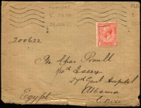 Lot 1439:1917 cover to 27th Gen Hospital, Abbassia with 1d KGV tied Plaistow machine cancel, marked X in blue crayon, on reverse partial Base APO/RLO datestamp.