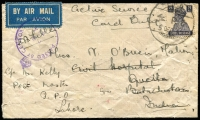 Lot 1229:Cyprus 1943 (Dec 5) cover to Civil Hospital, Quetta, India, c/o Post Master GPO Lahore with India KGVI 8a tied Indian 'FPO R6' datestamp (use at Nicosia) with 'PASSED BY/CENSOR 714' handstamp in violet, on reverse smudged Quetta arrival datestamp. [Difficult FPO datestamp, used only between Jan-Nov 1943 in Cyprus]