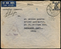 Lot 1228:Cyprus 1941 (Dec 8) cover sent by airmail to Bangalore with India KGVI 8a tied Indian 'FPO 89 datestamp (used at Limossol) with violet triangular 'PASSED BY/CENSOR/(crown)/1002' handstamp, on reverse triangular Indian censor handstamp in green (Daynes Type IND 110) and Bangalore boxed slogan arrival datestamp. [Proud records Indian FPO 89 used in Limossol for 4 months only between Nov 41 and Mar 42, and it is seldom seen]