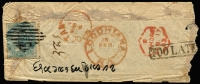 Lot 2104 [1 of 2]:1863 North West Frontier (Feb 15) small & fragile native cover (113x47mm) addressed (on reverse) to Mooltan with India ½a SG 37 tied by diamond-of-bars with Loodhiana datestamp alongside in red, boxed 'TOO LATE' handstamp, hexagonal Lahore transit & Mooltan arrival datestamp both in red.