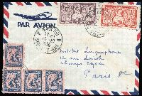 Lot 1760 [2 of 2]:1950 airmail covers to Paris comprising (Oct 11) with 60c & 2p Apsara plus 10c Rice Fields 10c x4 tied by Baclieu/Sud Viet-Nam datestamps and (Nov 24) with 1p & 2p Farman F190 Airs tied by Hue/Centre Viet-Nam datestamp. (2)
