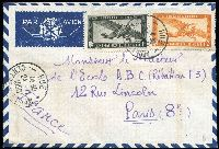 Lot 1760 [1 of 2]:1950 airmail covers to Paris comprising (Oct 11) with 60c & 2p Apsara plus 10c Rice Fields 10c x4 tied by Baclieu/Sud Viet-Nam datestamps and (Nov 24) with 1p & 2p Farman F190 Airs tied by Hue/Centre Viet-Nam datestamp. (2)
