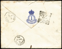 Lot 9487 [2 of 2]:1885 (Feb 21) 1st Battalion West Indies Regiment cover (crest on flap) to UK 4d QV (damaged) tied by Up Park Camp squared-circle datestamp, on reverse Kingston (Jamaica) square-circle & Taunton (UK) transits as well as Milverton arrival backstamp, small edge blemishes.