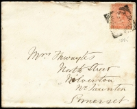 Lot 1503:1885 (Feb 21) 1st Battalion West Indies Regiment cover (crest on flap) to UK 4d QV (damaged) tied by Up Park Camp squared-circle datestamp, on reverse Kingston (Jamaica) square-circle & Taunton (UK) transits as well as Milverton arrival backstamp, small edge blemishes.