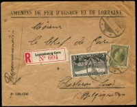 Lot 1281:1929 (Sep 14) Chemins de Fer D'Alsace Et De Lorraine Luxembourg-Gare registered printed cover to Charleroi in Belguim with 2f & 10c tied by '14.9.29' datestamp, boxed Luxembourg '14 Sep 29' backstamp in violet.