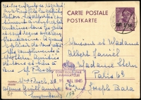 Lot 1518:1945 (May 12) 1.50fr on 75c Postal Card to Paris cancelled Luxembourg datestamp, Crown over Shield 'CONTROLE PAR/EXAMINATEUR' handstamp in violet, fine condition.