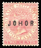 Lot 1590:1884-91 Overprints on Strait Settlements 2c pale rose with Type 11 'JOHOR' (wide 'H') overprint SG #11, browned gum, mint, Cat £120.