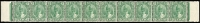 Lot 1197:1938-41 Sultan Iskandar 3c green Ordinary paper SG #106 horizontal strip of 10, fresh MUH, Cat £450+.