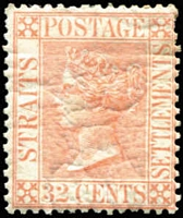 Lot 1661:1867-72 Wmk Crown CC 32c pale red SG #18, minor gum shrinkage/wrinkles, Cat £650. Very scarce.
