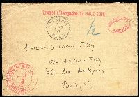 Lot 1108:1912 (Feb 13) stampless cover (with letter) to Paris endorsed with 'Troupes d'Occupation du HAUT-GUIR' handstamp in red, BOU-DENIB/13-2-12/MAROC' datestamp, circular 'COMMANDEMENT MILITAIRE DU HAUT-GUIR/LE COMMANDENT' cachet in red at lower-left, oval 'FRANCHISE POSTAL' handstamp at upper right. [Cover sent just prior Morocco becoming a French Protectorate in March 1912, which marked the end of the French campaign, though the troubles continued to around 1934]