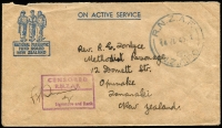 Lot 1416:Papau New Guinea 1945 (Jul 14) National Patriotic Fund Board New Zealand printed On Active Service stampless cover from member of NZ Forces serving in Los Negros in the Admiralty Islands to New Zealand, signed RNZAF censor handstamp in mauve, fine condition.