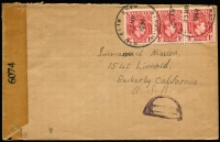 Lot 2251:1944 (Mar 23) cover to USA with 1d KGVI strip of 3 by tied Utu Etim Ekpo skeleton datestamp, censor handstamp in violet, US censor tape, Aba & Ikot Ekpene transit backstamps.