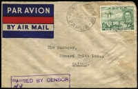 Lot 801:1940 (Aug 24) Burns Philp (Port Moresby) cover to Cairns with 5d Air tied by Port Moresby datestamp, PASSED BY CENSOR' boxed handstamp in violet. [Civil Censorship Study Group Type PMH8-4 recorded as used between 21 Sep and 3 Nov 1939, however this cover suggests it was used well into 1940]