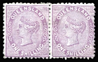 Lot 944:1879-80 Sideface Wmk 2nd Crown/Q 1/- pale lilac SG #145 pair, right-hand unit corner crease, large-part gum, Cat £320+.