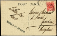 Lot 1709:1918 (Dec 3) black & white PPC (showing Freetown street scene with rail tracks) to Yverdon, Switzerland bearing 1d KGV tied by part Segbwema datestamp, Freetown (Dec 4) transit datestamp alongside, unframed 'PASSED BY CENSOR' handstamp in black.