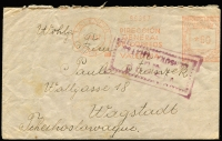 Lot 1427:1937 (May 17) International Brigade cover to Wagstadt Czechoslovakia with 60c 'DIRECCION/GENERAL/DE CORREOS/VALENCIA' meter cancel in red, boxed VISADA/POR LA/CENSURA MILITAR' handstamp in violet & on reverse boxed 'SCC/(date)/111' handstamp in black (partly overlaid by sealed flap) of the International Brigade Censors in Albacete, fine condition.