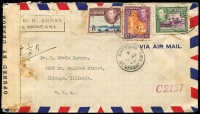 Lot 1629:1943 (Apr 5) airmail cover to Chicago with KGVI 1/-, 3d & 1d (fault) tied by Kingstown datestamp, 'OPENED BY CENSOR black on white tape tied by 'Passed by Censor No. 3' hand stamp in violet.