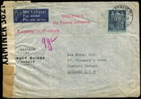 Lot 1307:1942 (July 20) Societe de Banque Suisse (Geneva) printed censored airmail cover to Max Morel Ltd (London) with 50c tied by Geneva datestamp, two-line 'Geneve 1/Via France-Lisbonne' handstamp in magenta.