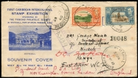 Lot 1479:1948 (May 7) First Caribbean Intercolonial Stamp Exhibition illustrated souvenir cover registered to Nairobi forwarded to Standard Bank of SA in London with 6c & 8c KGVI Pictorials tied by Whitehall Trinidad datestamp, Trinidad registration handstamp in violet, Nakuru (Kenya) oval registered transit datestamp on face, Nairobi, Nakura & Mombassa transit backstamps.