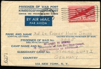 Lot 1700:Germany 1945 (Jan 1) use of USA Airmail POW letter-sheet addressed to American internee at Stalag Luft 111 in Germany, with 6c Air tied by New York machine cancel, censor '6271' handstamp in black, three-line 'RETURNED TO SENDER/By Direction of the War Department/Undeliverable as addressed' handstamp in violet, New York Jul 28 backstamp applied on return.