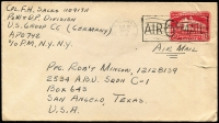 Lot 1911:Germany 1945 (Aug 10) use of USA 2c Stationary Envelope overstamped 'AIR 6c Air MAIL', addressed to soldier in San Angelo TX from POW & DP Div, US Group CC (Germany) APO 742, cover cancelled with 'US ARMY POSTAL SEVICE/416' datestamp, small tear at right.