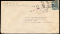 Lot 1473:1947 (Sep 25) airmail cover to Catholic Commission For Relief Abroad in London endorsed from 'CIV AFF DIV/EUCOM, APO 757' with 15c Prexie tied by 'US APO 757' in Frankfurt, on reverse 'WAR RELIEF SERVICES/NCWC' cachet & British 'FPO 784' transit backstamp.