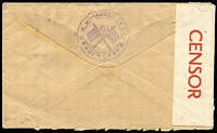 Lot 1282 [2 of 2]:1943 (Mar 26) M Mohamedally & Co (Aden Camp) cover to Ohio with 3a & ½a KGVI Pictorials tied by Aden datestamp, 'OPENED BY/CENSOR' Type PC22 label [CCSG 2] handstamped 'PASSED CENSOR/BY/No3/ADEN' in violet.