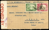 Lot 1282 [1 of 2]:1943 (Mar 26) M Mohamedally & Co (Aden Camp) cover to Ohio with 3a & ½a KGVI Pictorials tied by Aden datestamp, 'OPENED BY/CENSOR' Type PC22 label [CCSG 2] handstamped 'PASSED CENSOR/BY/No3/ADEN' in violet.