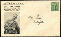 Lot 322:Northern Stamp Company 4d Koala tied to illustrated FDC by weak Waterfall (NSW) FDI datestamp, addressed locally.