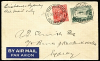 Lot 407:1930 Brisbane-Sydney Flight AAMC #149, 3d Airmail & KGV 1½d tied by Brisbane '1JA30' datestamps, Sydney (Jan 2) backstamp, carried by Kingsford-Smith, Cat $225.