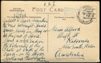 Lot 902:1919 (Feb 18) Forces in UK stampless PPC to NSW with boxed 'ORDERLY ROOM/AAMC DETAILS' (Australian Army Medical Corps) handstamp in blue, overstamped with 'FOVANT CAMP/SALISBURY' datestamp.